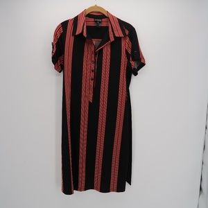 Enfocus Studio Black Red Striped Shirt Dress